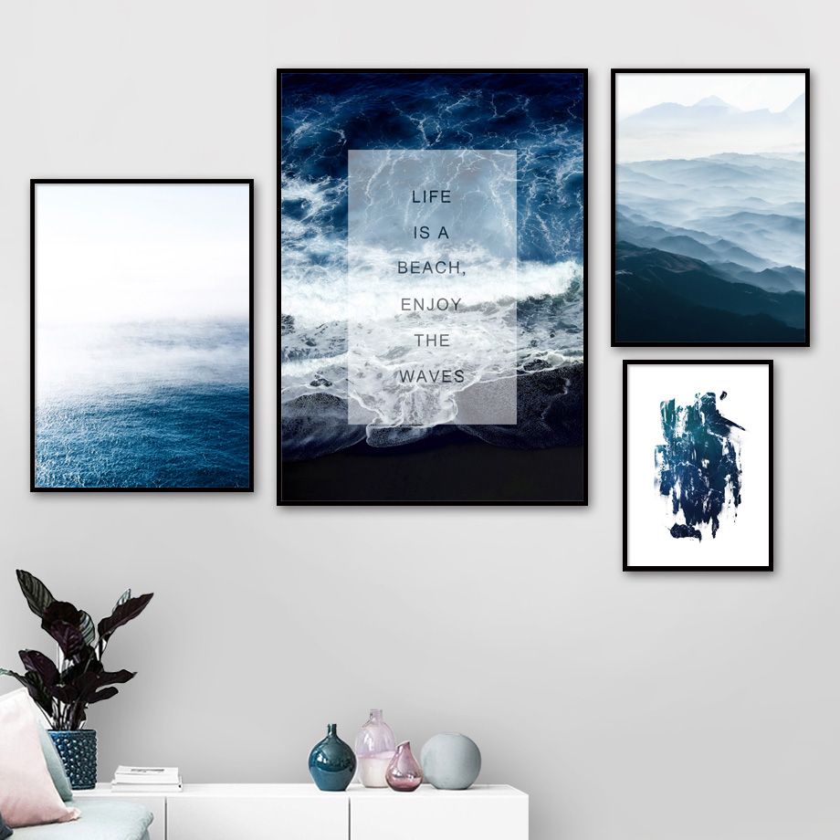 Mountain Sea Wave Beach Quotes Nordic Posters And Prints Wall Art Canvas Painting Landscape Wall Pictures For Living Room Decor