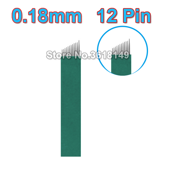 500pcs Microblading Needles 0.18mm 12 Flex Permenent Makeup Pins Lamina Agulhas Tebori Blade for Tattoo Manual Eyebrow Pen