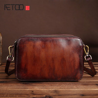 AETOO The new vintage handbags leather bag Vintage Handmade Leather Shoulder Bag small brush color