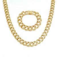 Mainlead Miami Curb Cuban Long Men Hip Hop Rhinestone Bracelet Necklace Set Gold Silver Chain Fashion Jewelry