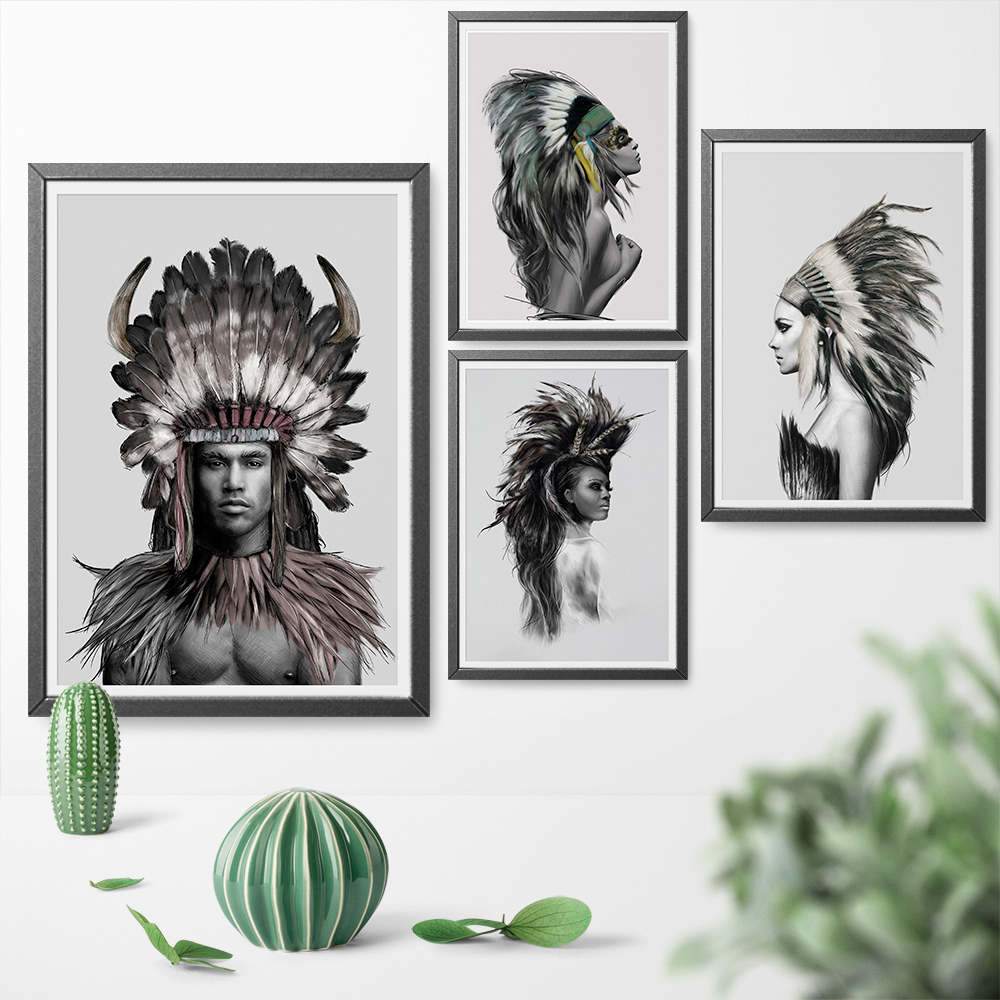 Native American Indian Girl Feathered Poster Beauty Art Canvas Print Painting Wall Picture Wall Art Home Decor Print