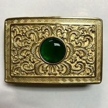 Vintage Antique Pure Brass Copper Big Belt Buckle Flower with Jade Cowboy Mens Fashion Gift