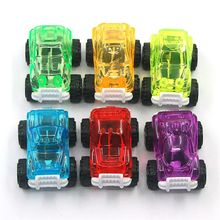 New Premium 6pcs Candy Color Transparent Pull Back Jeep Car Toys Baby Mini Cars Kids Boys Party Favors Gift