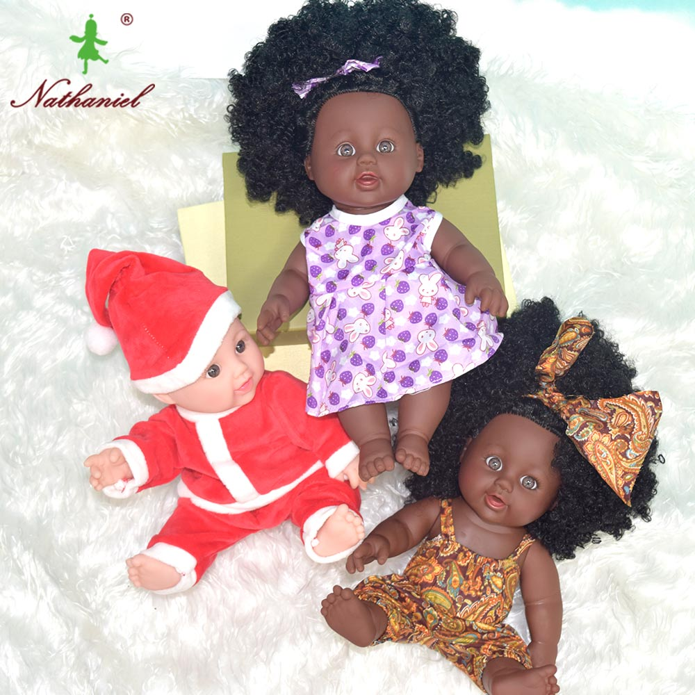 pretty hair BLACK USA BABY 12inch Newborn Reborn Doll brand Baby PVC Vinyl Children fashion Lifelike Toys Girls Birthday Gift