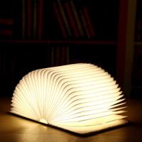 [LTOON] Wooden Folding Book LED Nightlight Art Decorative Lights Desk/Wall Magnetic Lamp White/Warm White New Year's gift