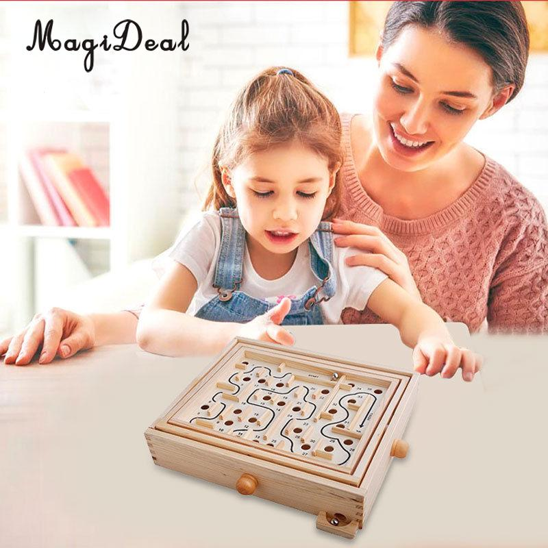 MagiDeal Kids Children Labyrinth Maze Educational Borad Game Toy Fun Play for Develop Children Intelligence Novelty Gifts Wood