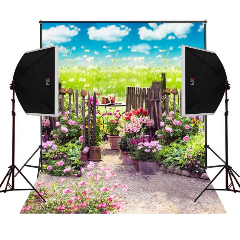 Floral Spring Garden Fence Pink Flower Leaves photo backdrop Vinyl cloth High quality Computer print wall Backgrounds vintage castle retro medieval architecture stone bridge mountain backdrop vinyl cloth computer print wall backgrounds