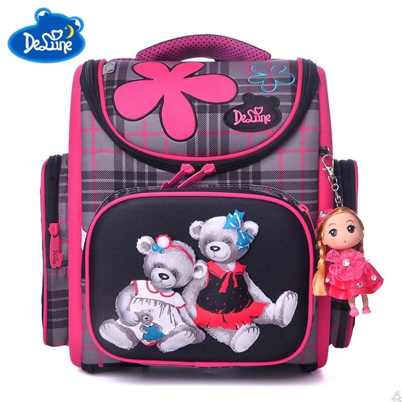 Delune Orthopedic Schoolbag 3D Girls Backpacks for School Kids Rucksack Children Cartoon Bag Dog Bear Knapsack Mochila Escolar
