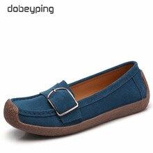 Dobeyping primavera outono sapatos mulher de couro genuíno mulher apartamentos deslizamento sobre mocassins femininos sapato fivela calçado