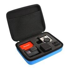 Телесин средний синий Портативный сумка для хранения Box Путешествия Чехол чехол для GoPro Hero5 герой 4 3 + 3 2 xiaomi Yi 4 К EKEN SJCAM