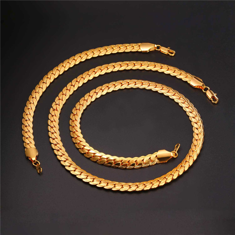 Collare Trendy Snake Link Chain Jewelry Sets For Men Rose GoldBlack