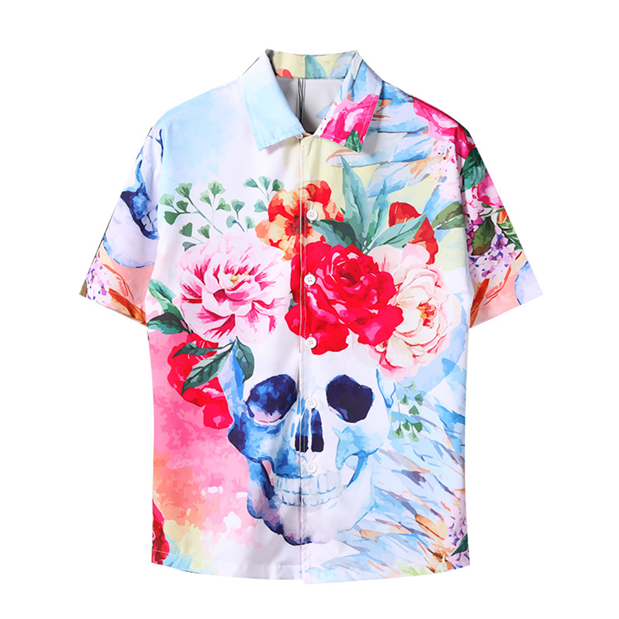 Men Printing Shirts Men Fashion Design Short Sleeve Korean Oversized Shirt Men Floral Hip Hop Punk Rave Tie Dye Shirt Dress Cd64