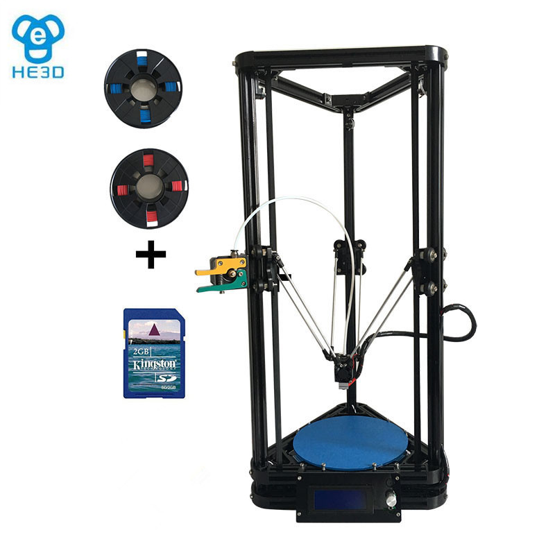 Autoleveling HE3D K200 delta 3d printer kit DIY printer single nozzle extruder- support multi material new upgrade he3d high presicion k200 dual aluminium extruder delta diy 3d printer with heat bed supporting multi filaments%2