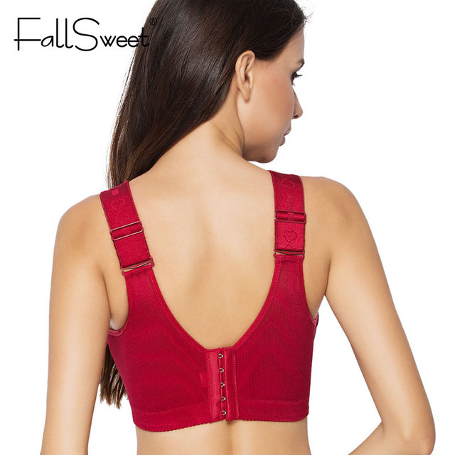 FallSweet Women Vest Bra Brassiere Wire Free C D Cups 36 38 40 42 44 46 Red Blue Black Push Up Bras for Women Underwears