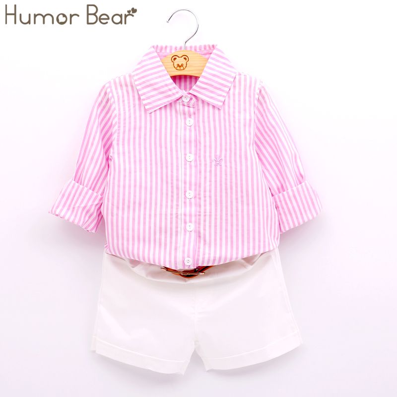 Humor Bear Summer Style Girls Clothing NEW European and American Girls Girls Cotton T-shirt + Trousers + Belt 3pcs Sport swear european and american style brand children s clothing children summer cotton short sleeved t shirt baby girls t shirt 50158