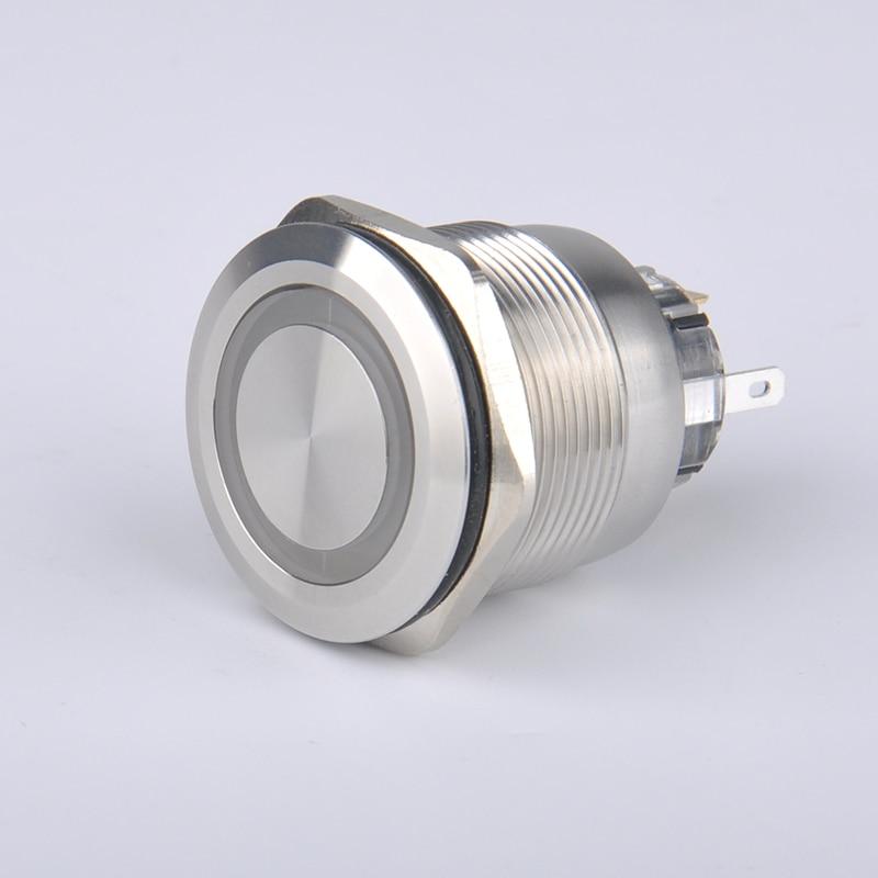 12 В 25 мм Из Нержавеющей Стали <font><b>LED</b></font> Лампы Сброс Высокое Качество Кнопка Metal Переключатель для Автомобилей Автомобиля водонепроницаемый quakeproof