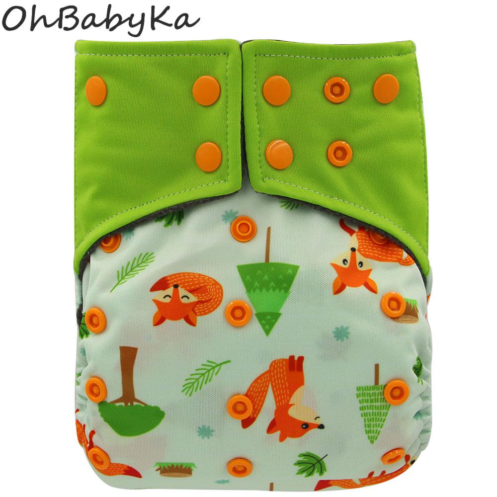 цена на Ohbabyka Infant Reusable Diapers Cover Animal Print Pocket Diaper Washable Baby Cloth Diaper Bamboo Charcoal Kids Training Pants