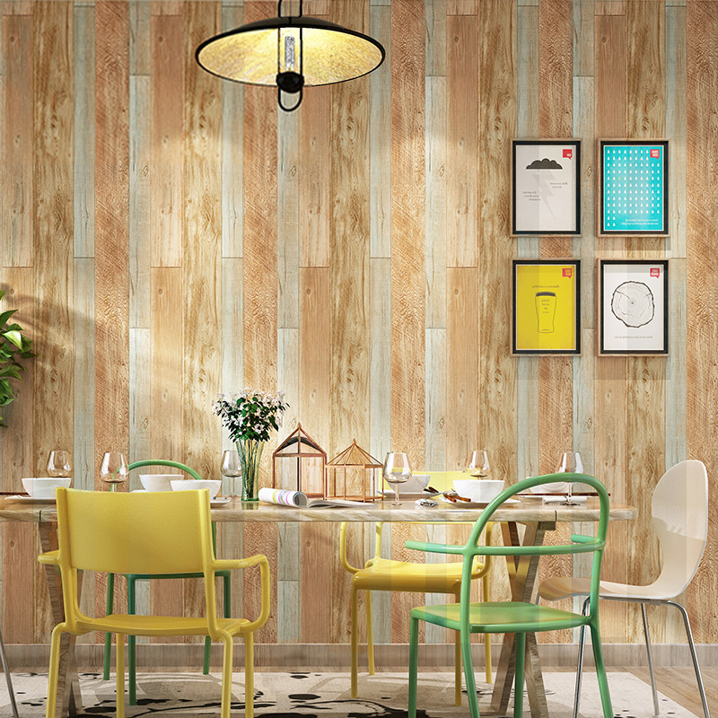 Vintage Imitation Wood Grain PVC Wallpaper 3D Restaurant Cafe Clothing Store Bar Background Wall Personality Decor Wallpaper 3 D beibehang 3d stereo simulation wood grain pvc thick wallpaper hotel cafe bark trunk round wood background wallpaper