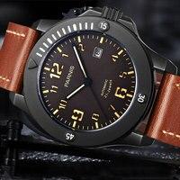 Novo 44mm parnis brown dial pvd caso calendário de cristal safira miyota relógios mecânicos automáticos masculino relógio relogio masculino