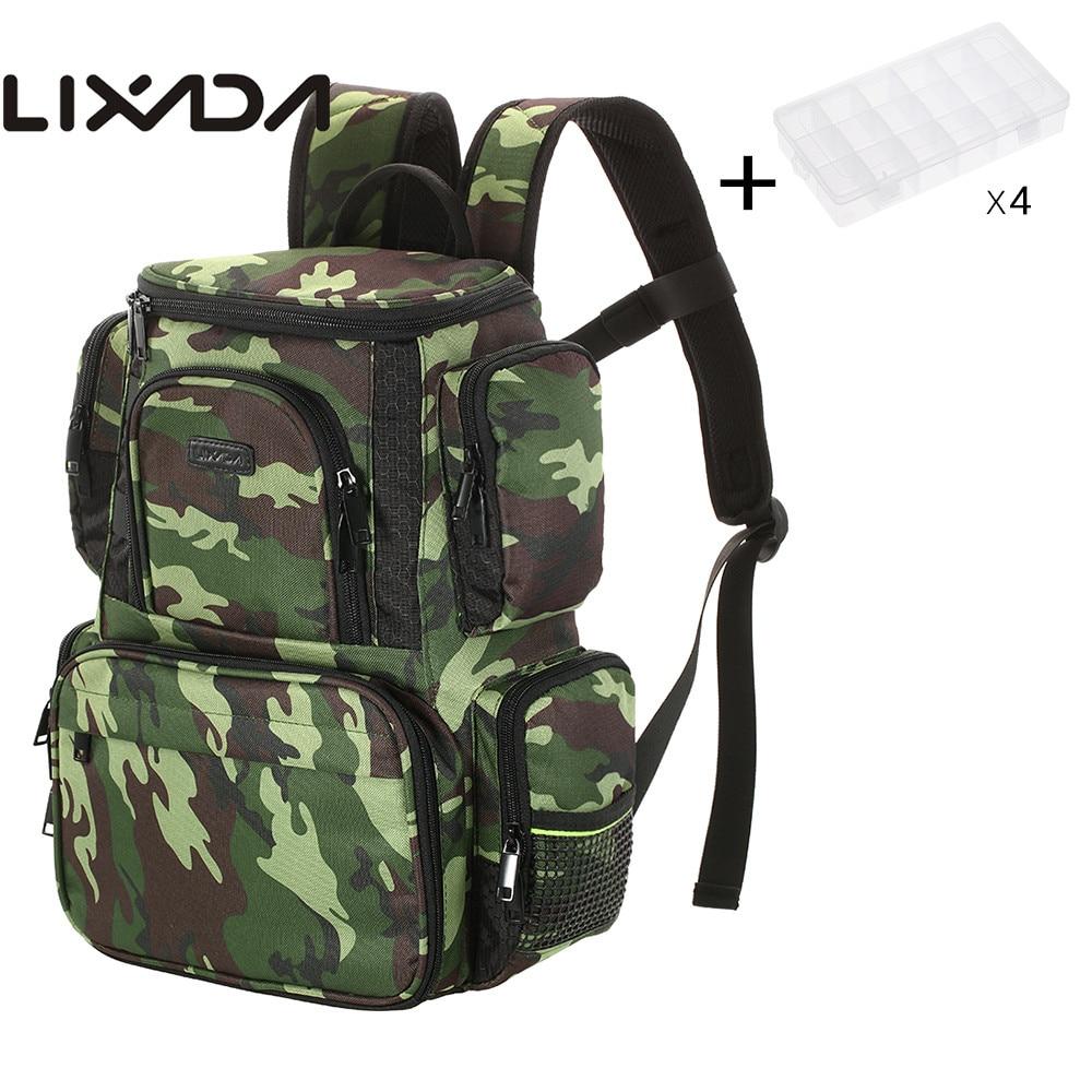 Lixada 4 Fishing Tackle Box Fishing Reel Lure Bag Backpack Water Resistant Fishing Lures Bait Box