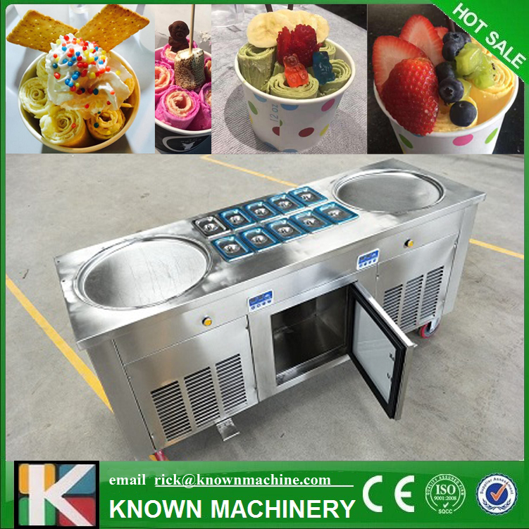 The Hot Sale Double Round Pans Roll Fried Ice Cream Make Machine With 304 Stainless Steel And Japan Matsushita Compressors