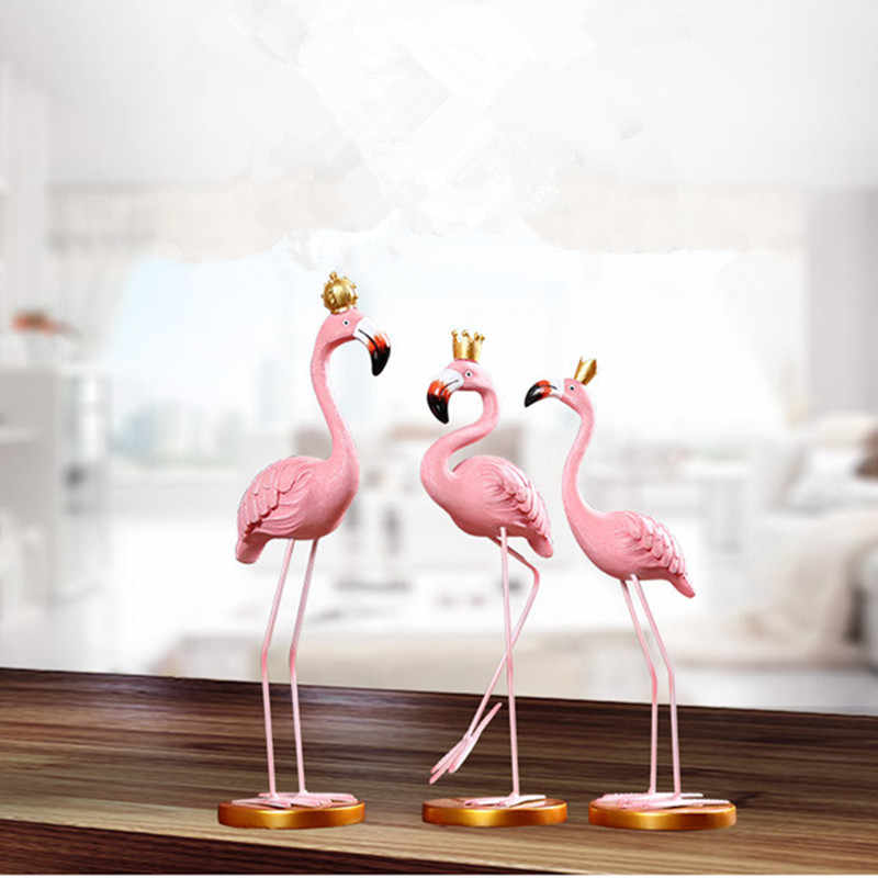1 PC Home Decoration Craft Pink Resin Flamingo Figurine Sweet Home Decor Decorative Fairy Miniature Figurines Stunning Figures