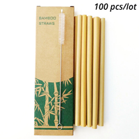 100pcs/lot Bamboo Drinking Straws homebrew Reusable straw Eco Friendly for Party beer Bar + Clean Brush Useful kitchen Tool