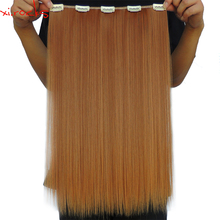 wjlz5050/5P Xi.rocks Synthetic 5 Clip in Hair Extension 50cm Hair Clips Extensiones 50g Straight Hairpin Hairpiece Ginger 27S