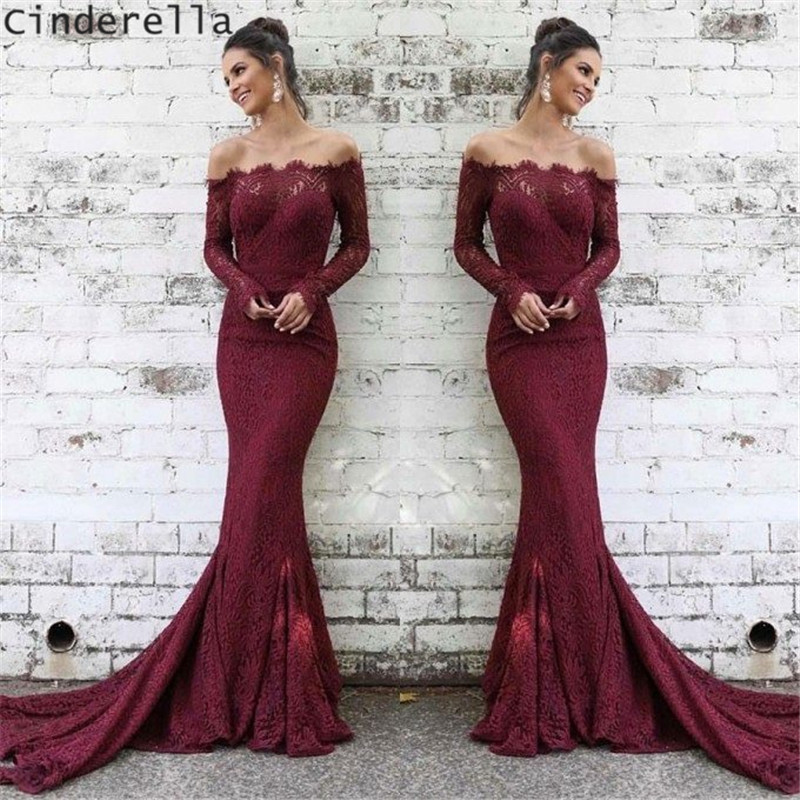 Cinderella Burgundy Lace Boat Neck Long Sleeves Court Train Mermaid   Prom     Dresses   Lace Trmpet Full Sleeves   Prom   Party Gowns