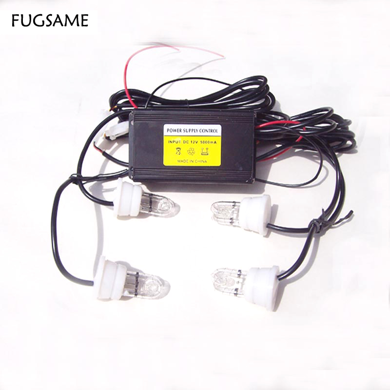 FUGSAME FREE SHIPPING Factory Direct NEW 60W 4 STROBE white LIGHT KIT POLICE FIRE SYSTEM red blue