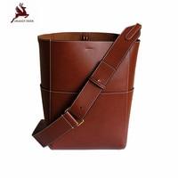 New Vintage Luxury Genuine Leather TOP Sangle Bucket Bag Factory Sale Lady Cowhide Large Tote