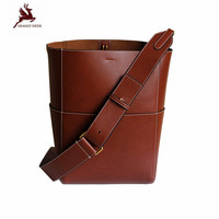 New Vintage Luxury Genuine Leather TOP Sangle Bucket Bag Factory Sale Lady Cowhide Large Tote