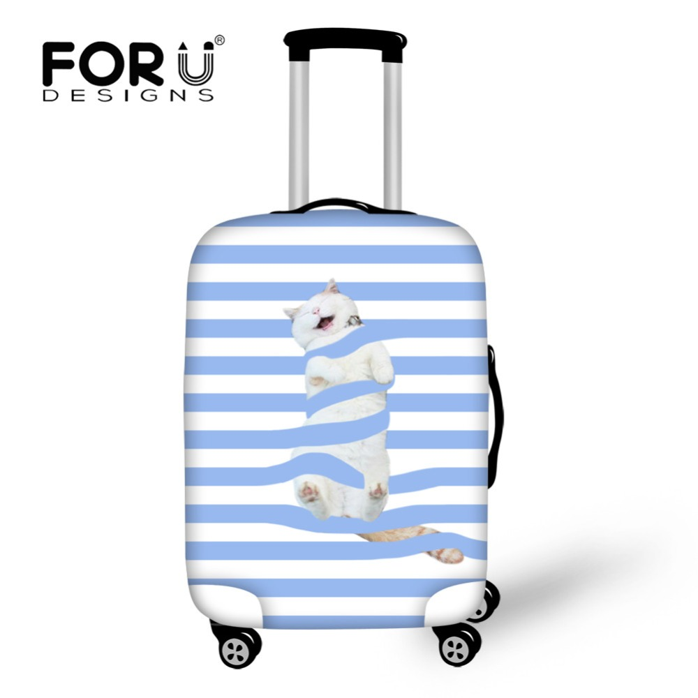 все цены на FORUDESIGNS Cute Cat Blue Stripes Thick Elastic Luggage Protective Cover for 18-30 inch Trunk Case Travel Suitcase with Zipper
