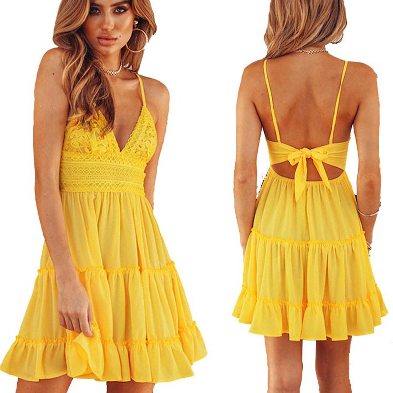 Sexy Women back bow backless slip Dress 2018 new Cocktail party badycon short beach yellow mini Dresses female white lace dress
