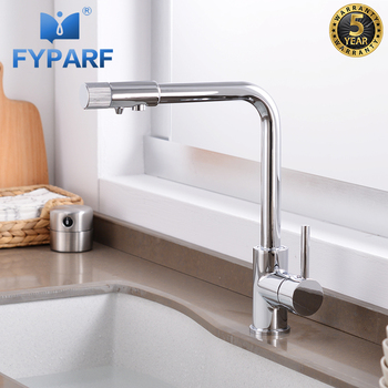 FYPARF Solid Brass Chrome Water Kitchen Faucets Mixer Double Function Drinking Filter Faucet Cold Hot Tap