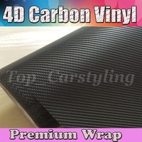 Black 4D Carbon Fibre Vinyl Car Wrap Film Gloss White Carbon Fiber Film Vehicle covers With Air Bubble 1.52x30m/Roll (5ftx98ft)