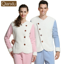 Qianxiu Brand Thermal Thick Couples Pajamas Sets Winter New Fashion Cashmere Home Lounge Tops & Bottoms Mens Warm Clothes