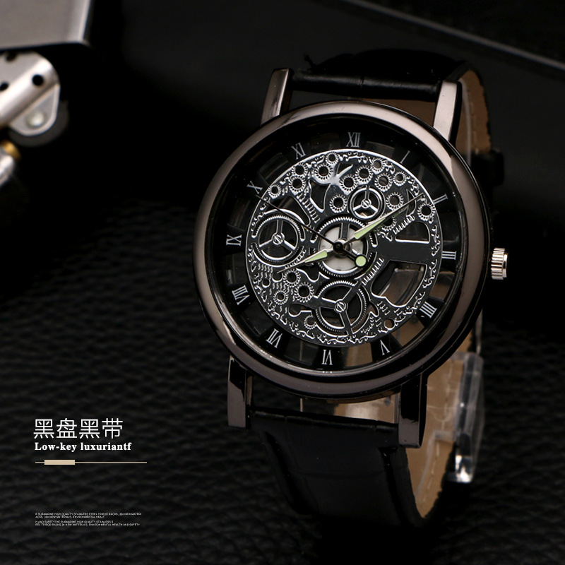 Mens watches top brand luxury 2018 Skeleton Watch Men Hollow Wristwatch Male Clock Quartz Watch relojes para hombre Dropshipping
