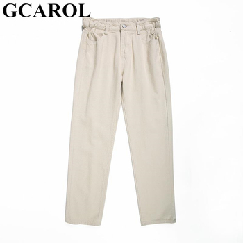 GCAROL 2019 Spring Fall Elastic Waist Retro Old Pants Ankle Length First Love Loose Vintage Straight Pants Plus Size 25-32 4