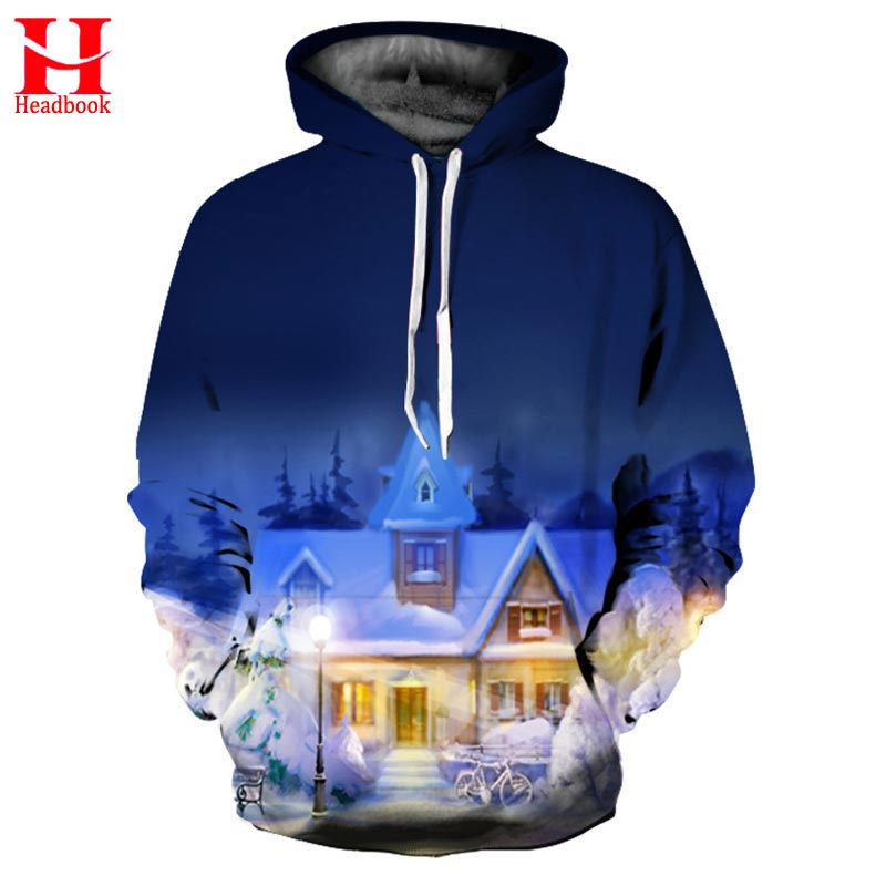 2017 Headbook Spring Winter Hoodies Men Women Sweatshirts Print Warm Home Fashion Hooded Pullovers Unisex Hoody Outerwear
