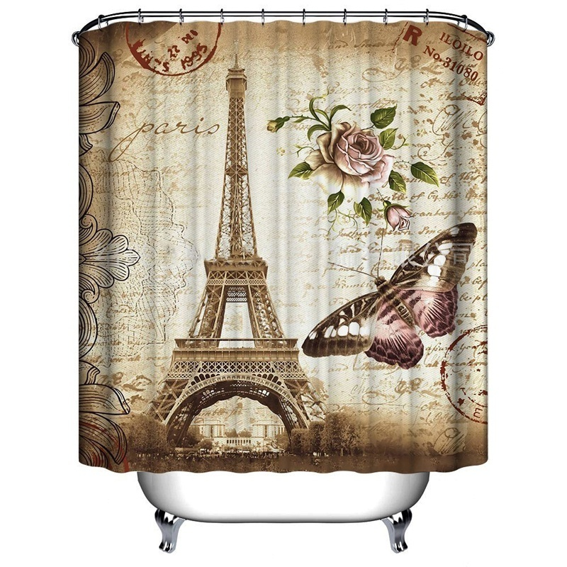 Fashion Paris Eiffel Tower Butterfly And Flower Print Shower Curtain  Mildew Proof Bathroom Accessories Home