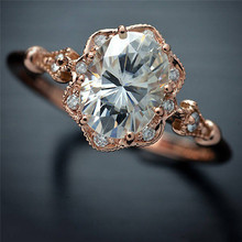 2-colour Blue Crystal Female Ring Cool and Icey Jewelry Golden Wedding Engagement Size 6-10