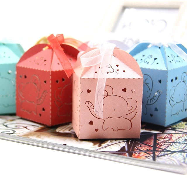 Us 4 91 20pcs Cute Elephant Candy Box Diy Paper Gift Boxes Party Favors For Kids Birthday Wedding Party Decoration Baby Shower Supplies In Gift Bags