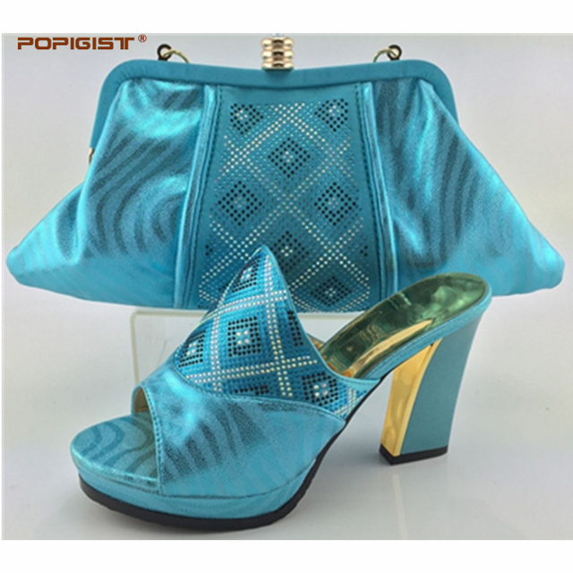 Fashion Shoes And Bag Teal Color African For Woman Wedding