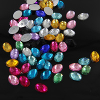 100pcs /set 10mm*14mm Mixed-Color Ellipse Resin Beads Flatback DR for Handle Clothing Sewing Accessories QC269