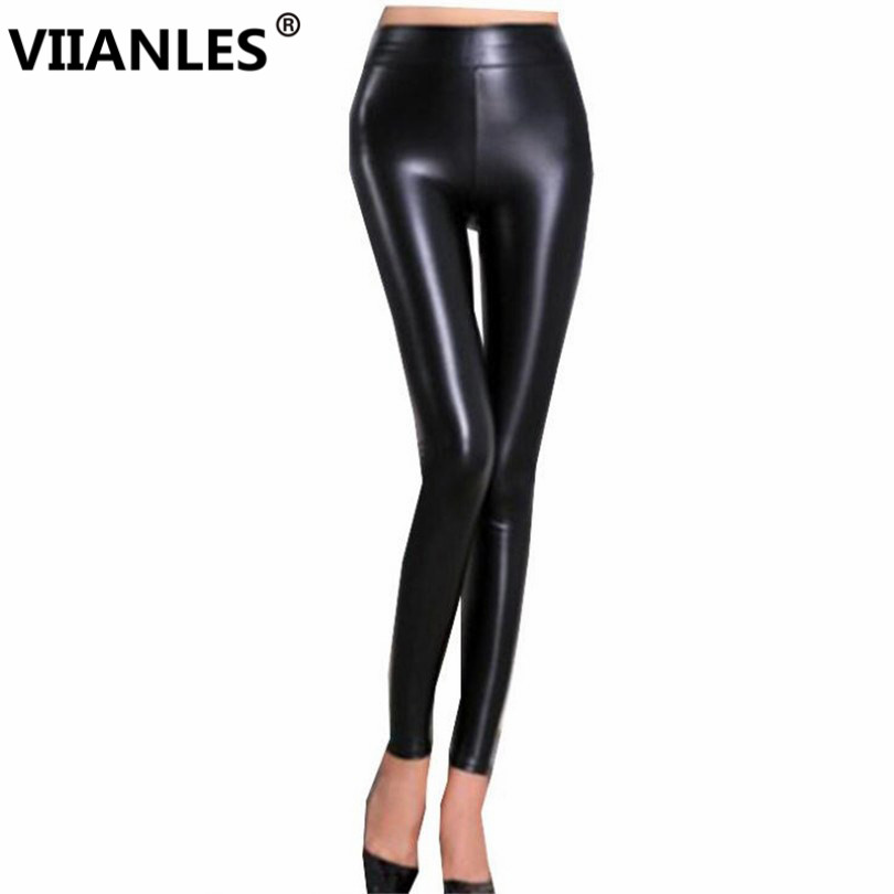 VIIANLES Women High Waist Pants Fitness   Legging   Workout PU Leather   Leggings   Skinny Sexy Push Up Legings Elastic Black Jegging