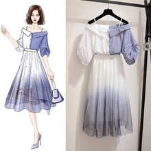ICHOIX 2 Piece Set Women S-2XL Elegant dot mesh Skirt+Mesh Off shoulder tops outfits summer Female clothing