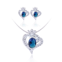 Jewelry Set Heart Charm Lady 925 Sterling Silver Earrings and Pendant Necklace 6x8mm Oval CZ Stones SET003