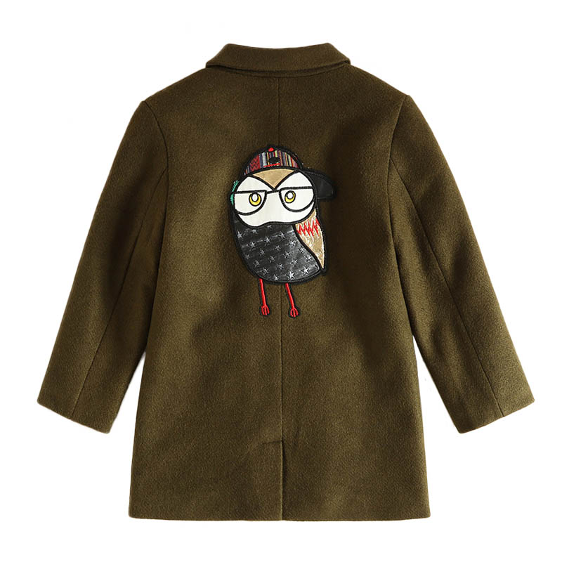 IMMDOS Winter Wool Coat For Girl Kids Cartoon Outerwear Children Lapel Warm Clothes Long Sleeve New Year Fashion Coat For Boys peak lapel pocket wool blend pea coat