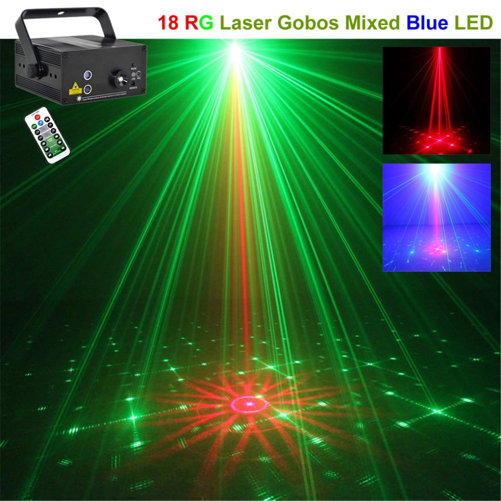 Mini Remote 18 RG Patterns Laser Lights Effect Projector Mixed 3W Blue LED Music AUTO DJ Home Bar Party Show Stage Lighting 18RG new ir remote 2 lens 18 patterns rg laser crossover effect project 3w blue led mixing effect dj ktv show stage lighting az18rg
